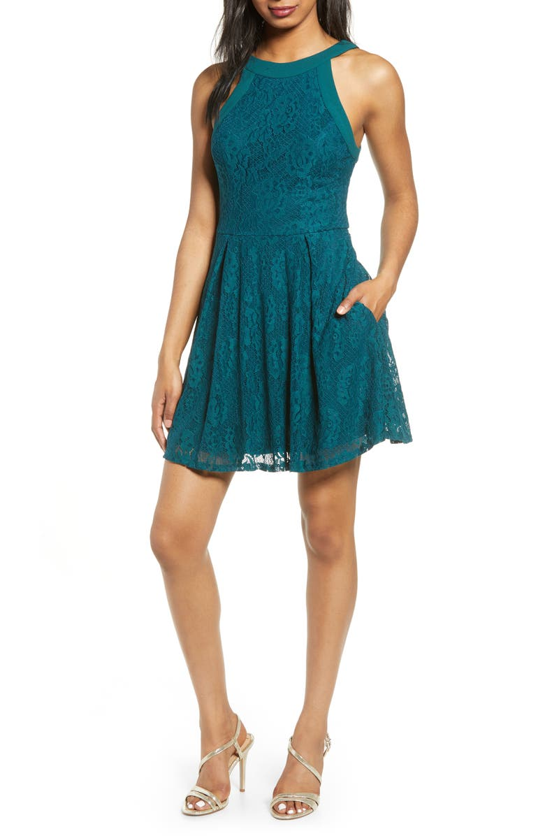 SPEECHLESS Lace Skater Dress, Main, color, EVERGREEN