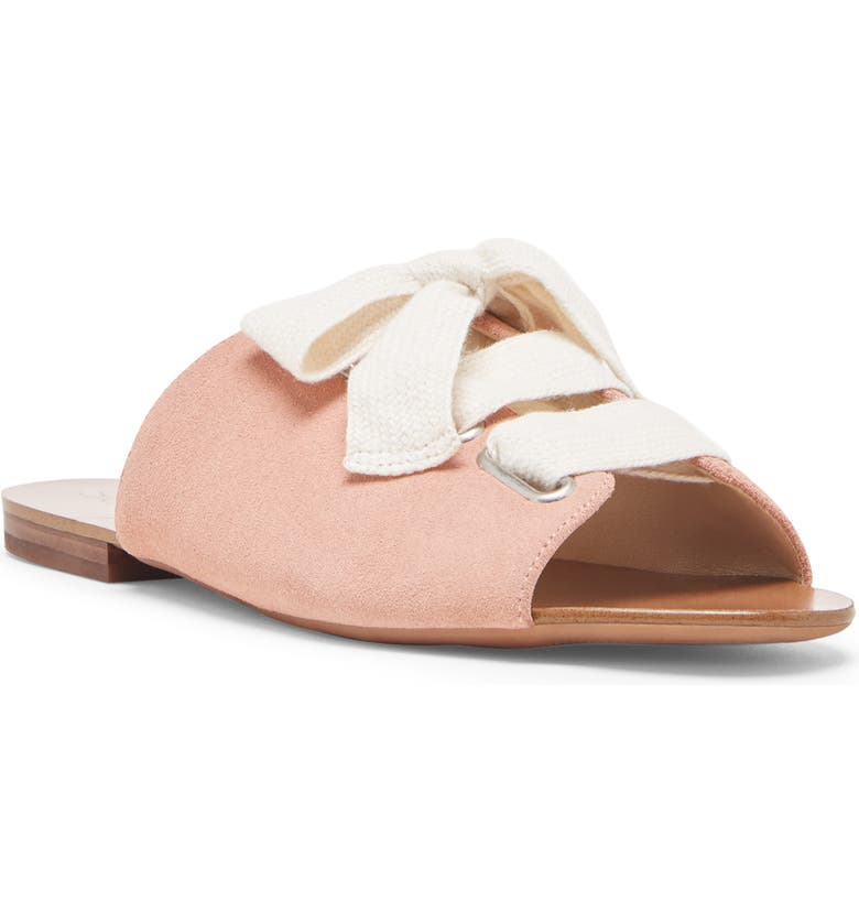 SOLE SOCIETY Marinn Lace-Up Slide Sandal, Main, color, CORAL DUST/ CREAM SUEDE