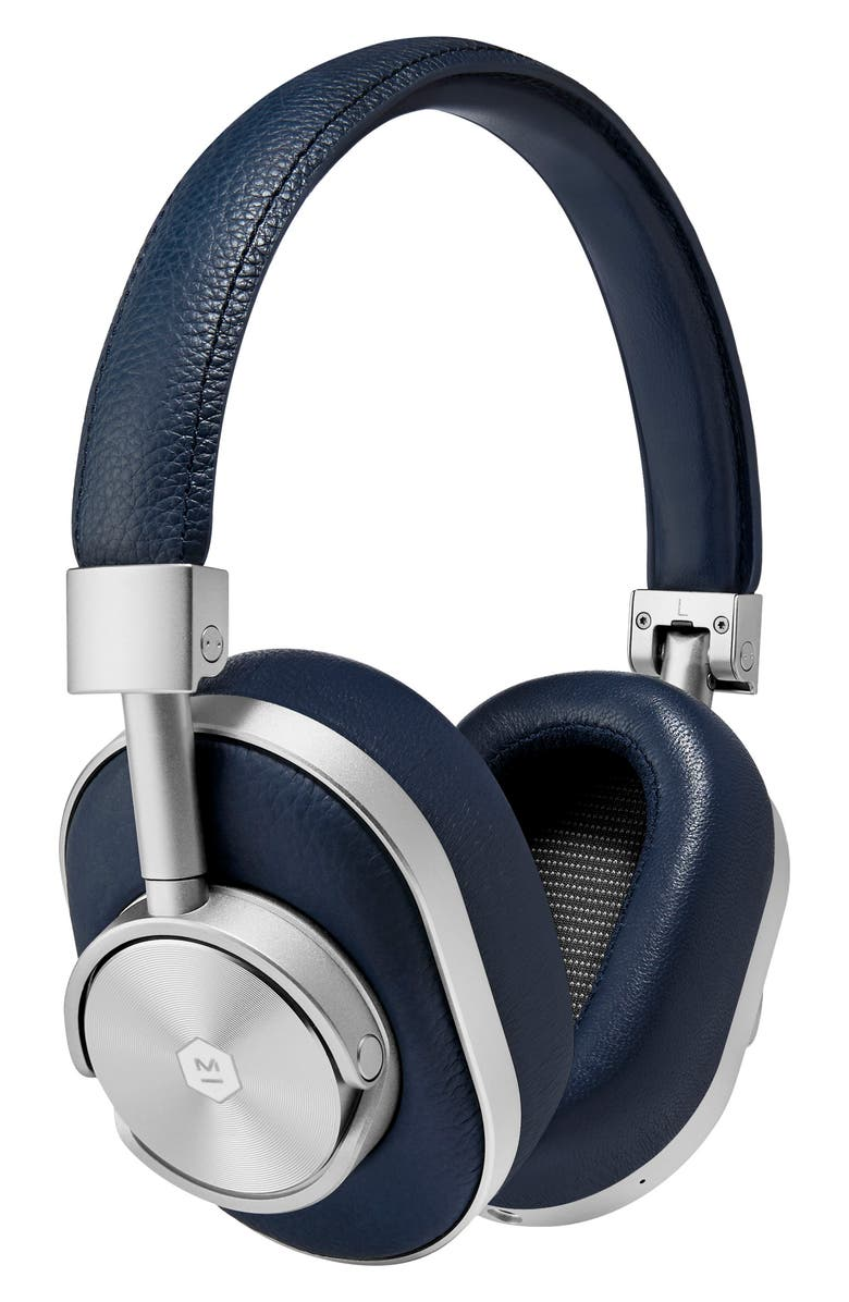 MASTER & DYNAMIC MW60 Wireless Leather Over Ear Headphones, Main, color, SILVER/ NAVY