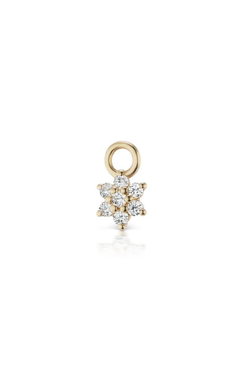 MARIA TASH 4.5mm Diamond Flower Earring Charm, Main, color, YELLOW GOLD/ DIAMOND