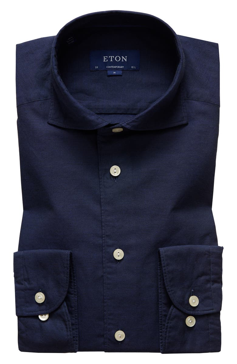 ETON Soft Collection Contemporary Fit Solid Cotton & Silk Shirt, Main, color, BLUE