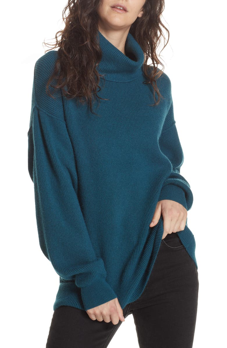 FREE PEOPLE Softly Structured Knit Tunic, Main, color, DEEP JADE