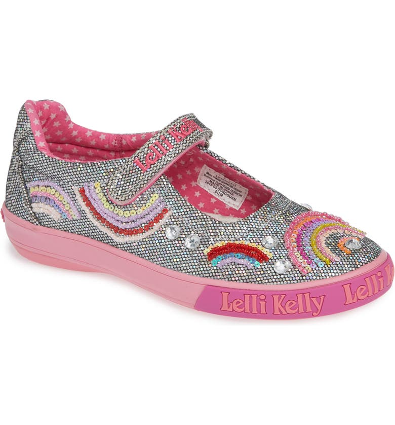 LELLI KELLY Beaded Rainbow Mary Jane Sneaker, Main, color, PEWTER