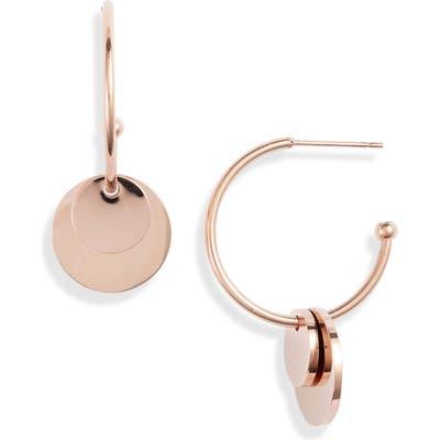 Knotty Disc Charm Hoop Earrings