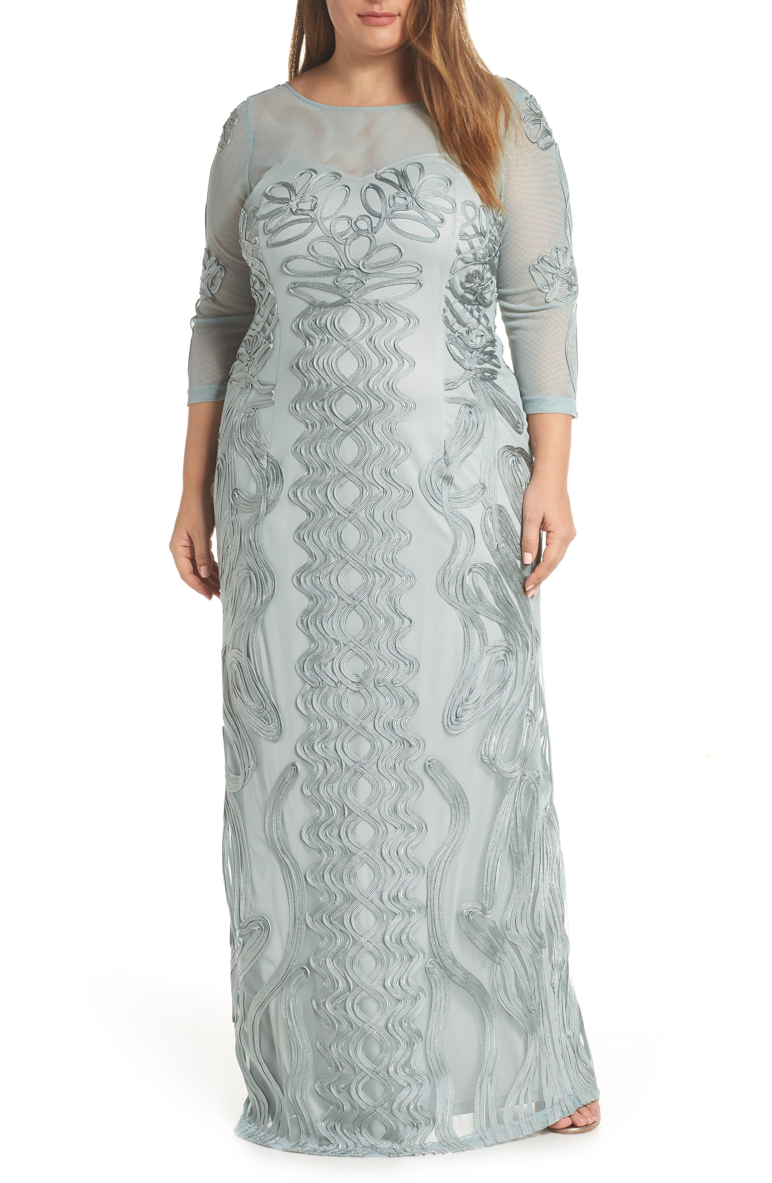 Plus Size Js Collections Soutache Trim Mesh Column Gown, Blue/green