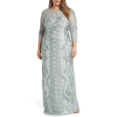 Plus Size Js Collections Soutache Trim Mesh Column Gown, Blue/green