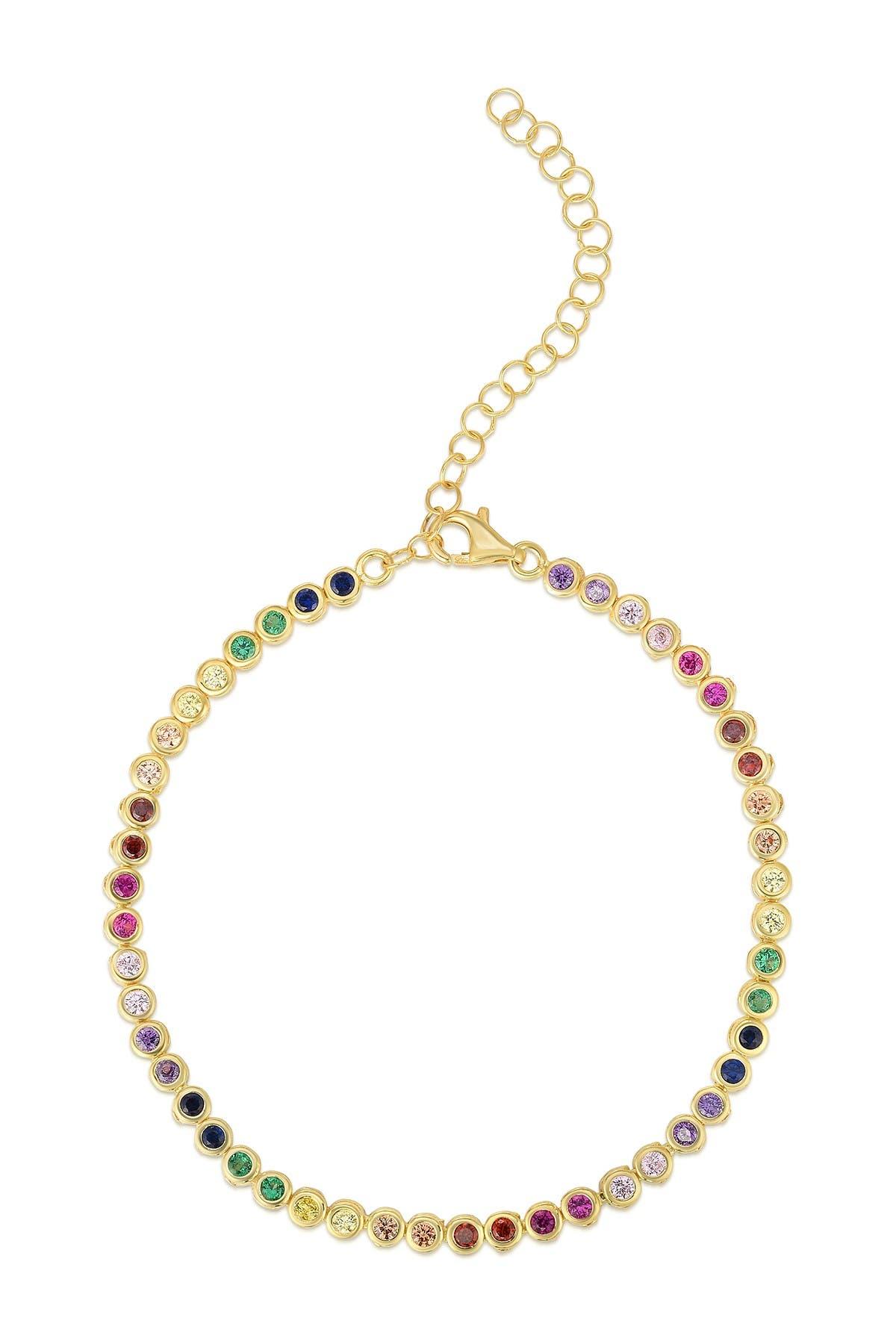Image of Sphera Milano 14K Gold Plated Sterling Silver Rainbow CZ Tennis Bracelet