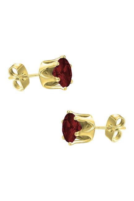 Image of Savvy Cie 18K Yellow Vermeil Garnet 4mm Stud Earrings