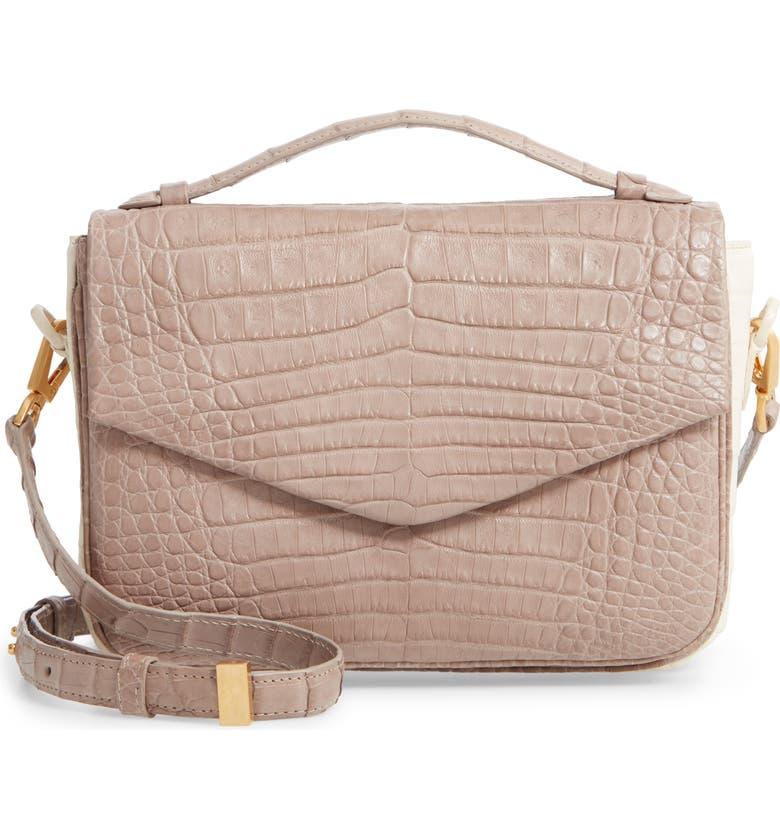 NANCY GONZALEZ Small Genuine Crocodile Crossbody Bag, Main, color, TAUPE/ CREAM