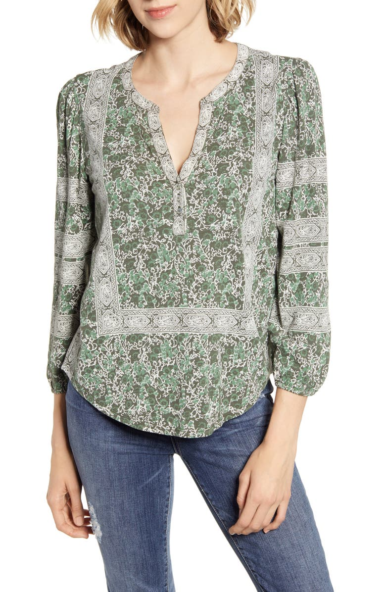 Print Balloon Sleeve Cotton Top by Lucky Brand