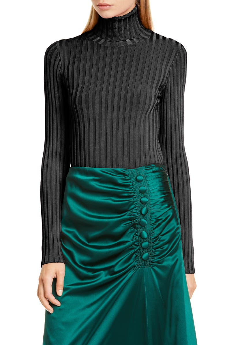 VERONICA BEARD Nellie Ribbed Turtleneck, Main, color, BLACK