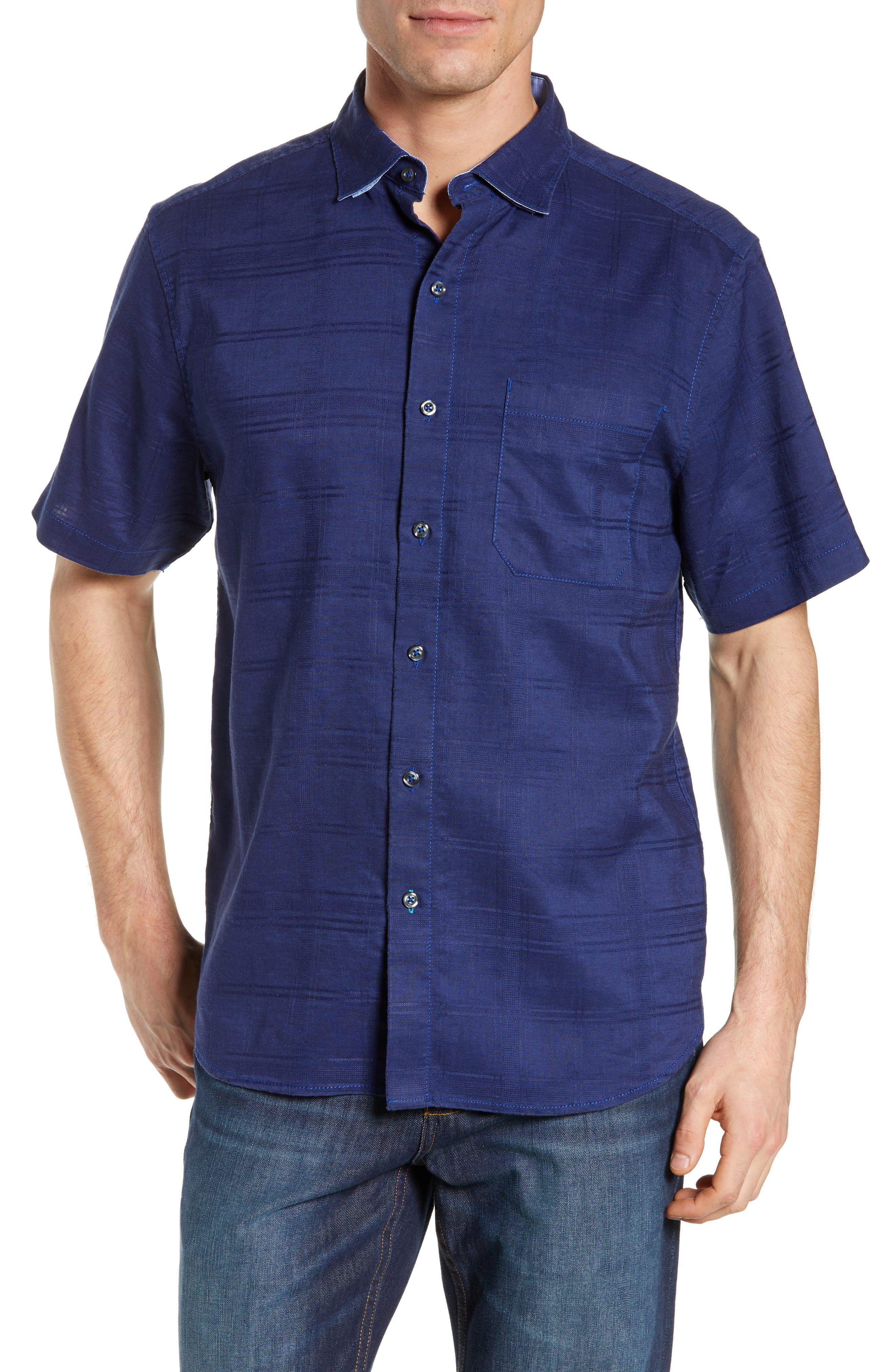 Costa Tautira Linen Blend Sport Shirt, Main, color, THRONE BLUE