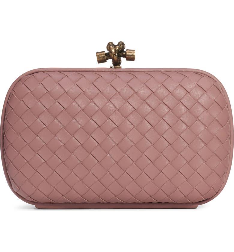 BOTTEGA VENETA Intrecciato Leather Knot Clutch, Main, color, DECO ROSE/ DECO ROSE