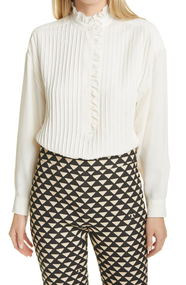 TORY BURCH Ruffle Pleated Blouse, Main, color, NEW IVORY