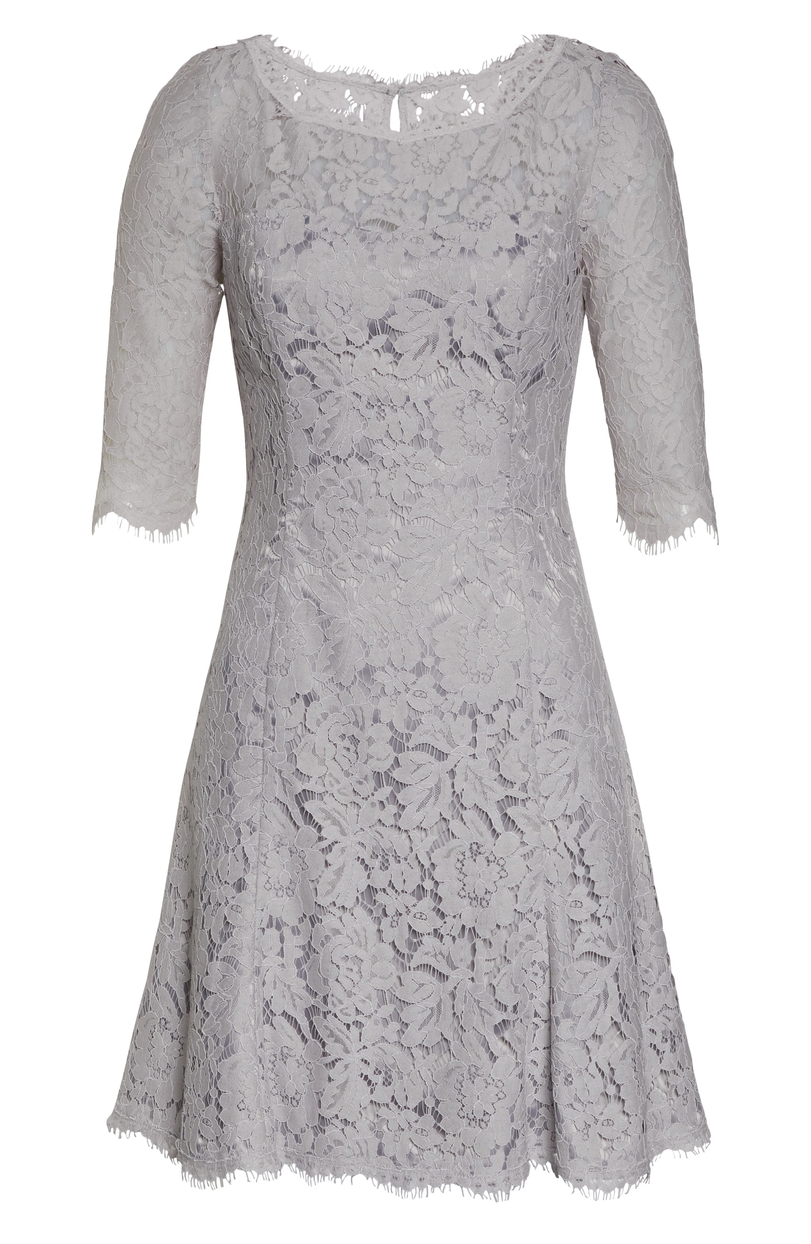 ,                             Lace Fit & Flare Cocktail Dress,                             Alternate thumbnail 8, color,                             GREY