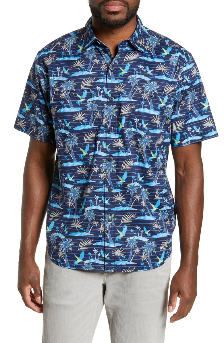 TOMMY BAHAMA Isle of Palms Classic Fit Shirt, Main, color, MONACO BLUE