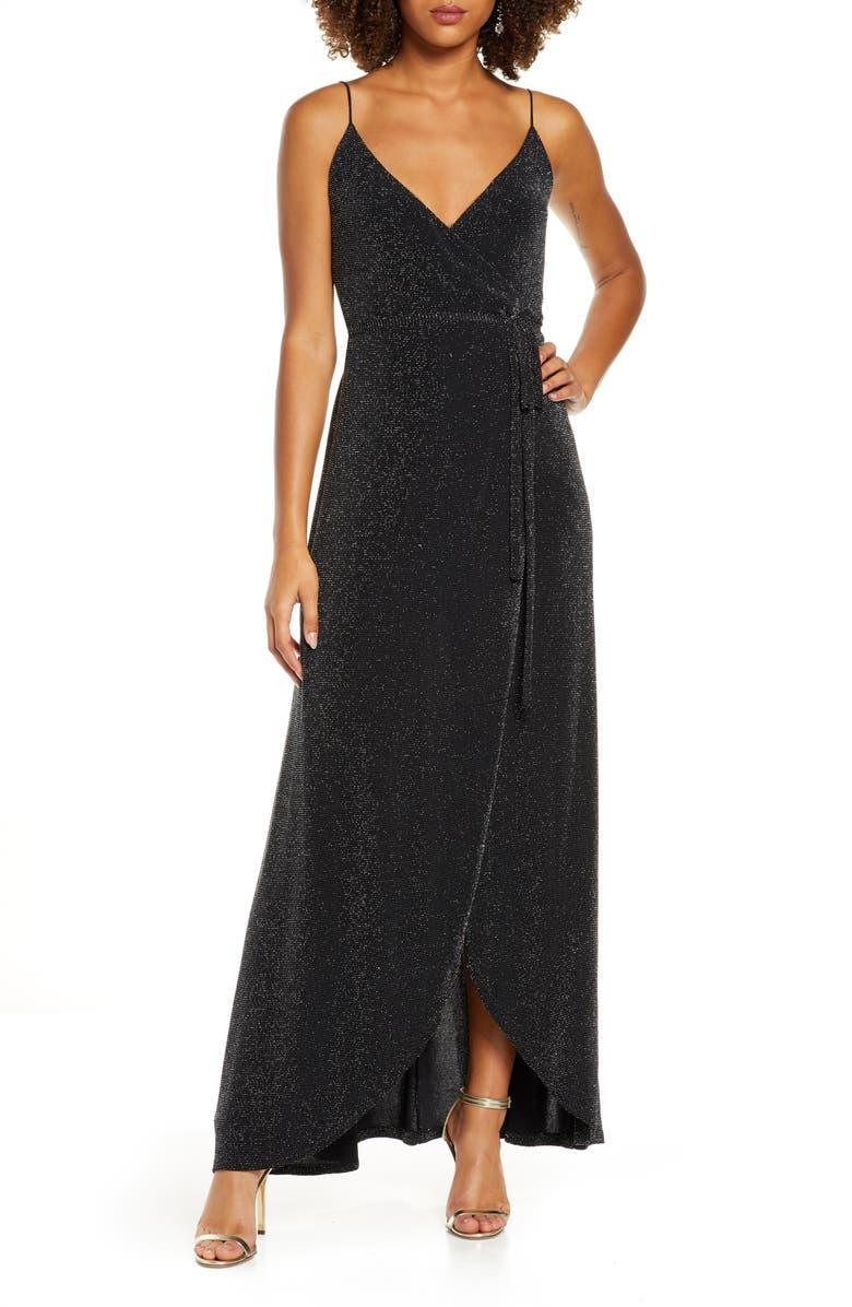 LULUS Celestial Metallic Tulip Hem Wrap Gown, Main, color, BLACK/ SILVER