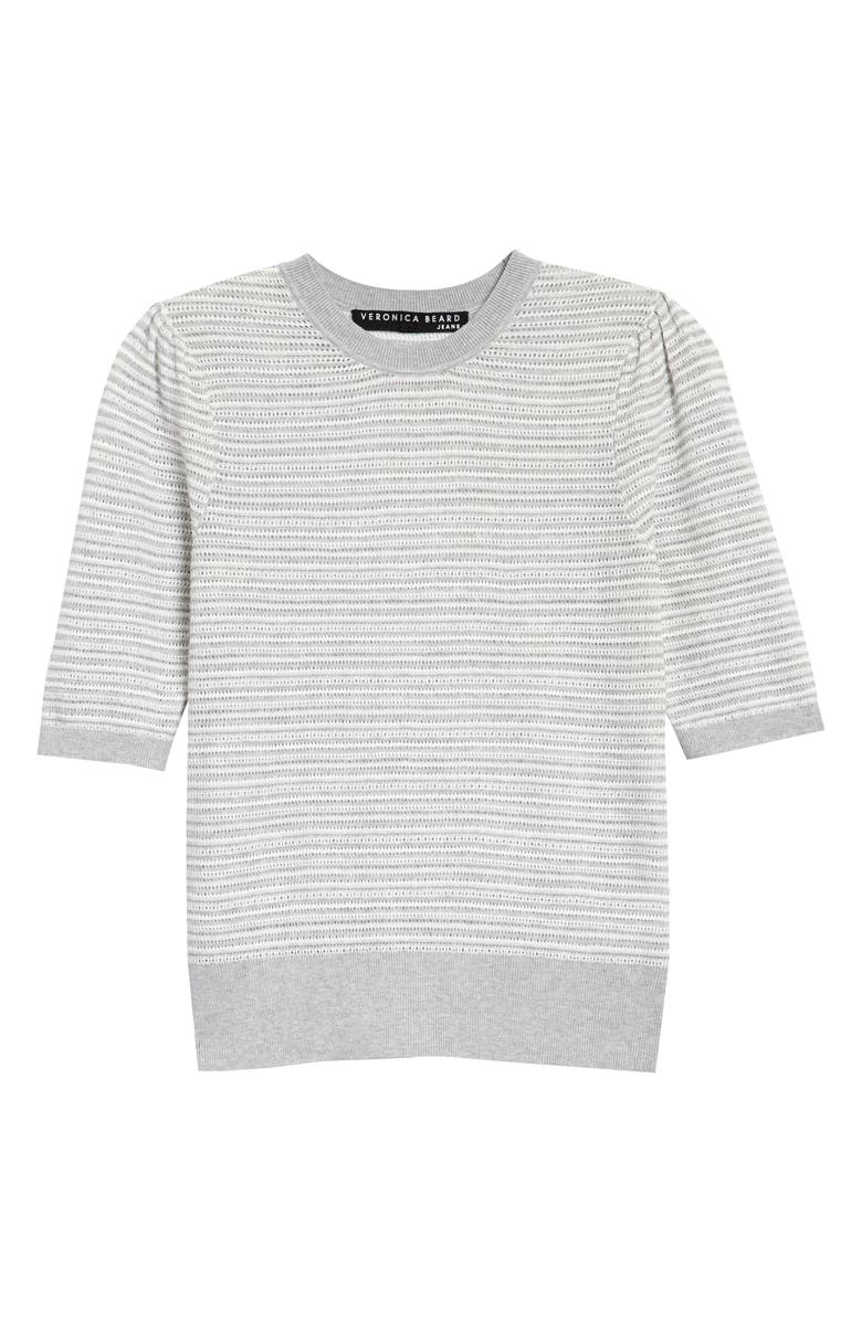 VERONICA BEARD Montgomery Short Sleeve Stripe Sweater, Main, color, GREY/WHITE