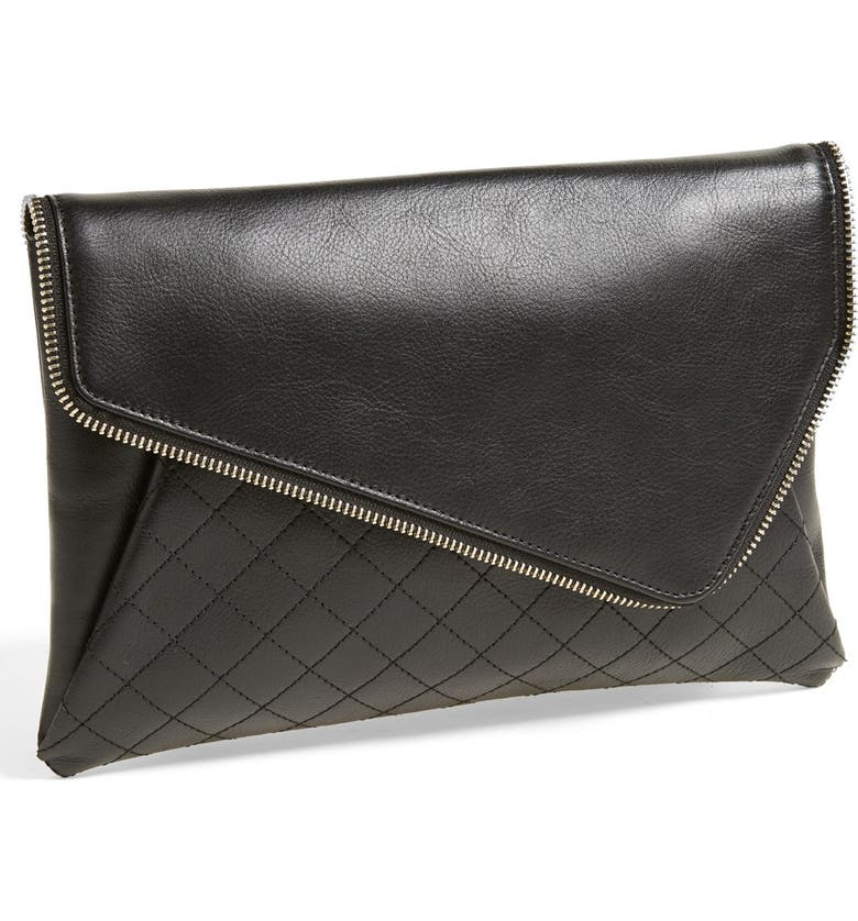 HALOGEN<SUP>®</SUP> 'Date Night' Asymmetrical Flap Clutch, Main, color, 001