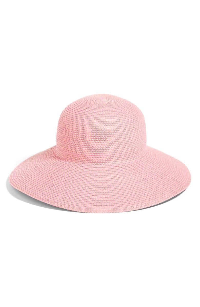 'Hampton' Straw Sun Hat, Main, color, POP PINK