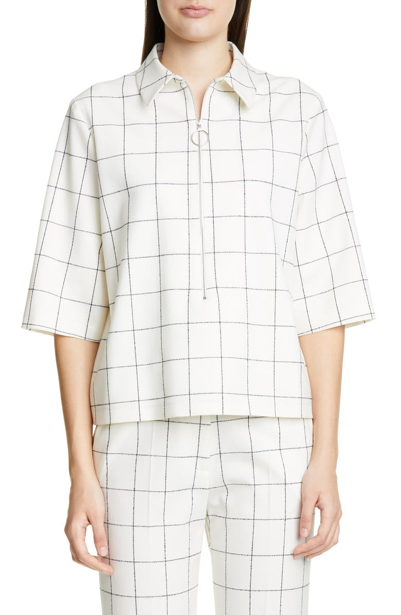 PARTOW Hewitt Half-Zip Check Top, Main, color, IVORY/ BLACK