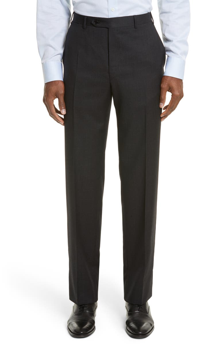 CANALI Flat Front Stripe Wool Trousers, Main, color, 020