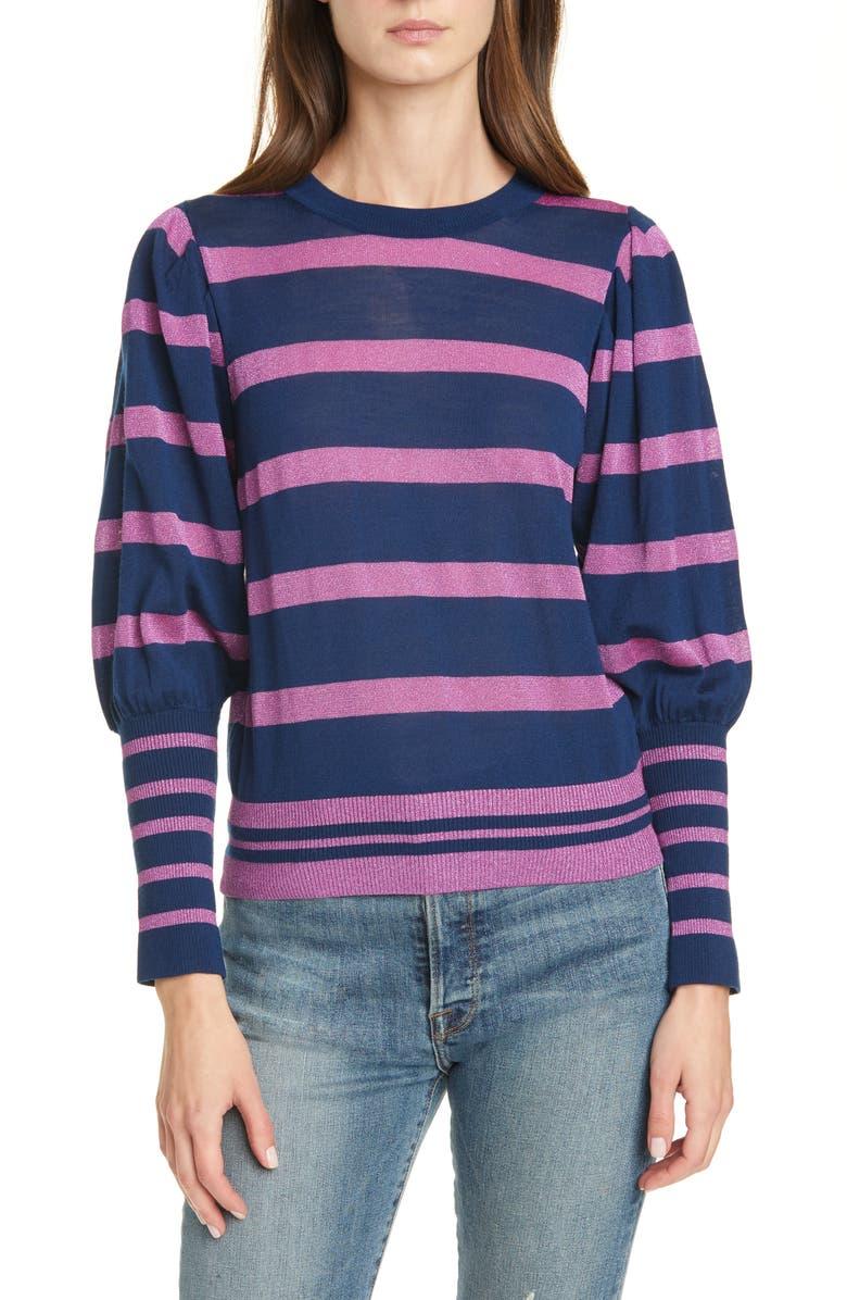 TANYA TAYLOR Metallic Stripe Balloon Sleeve Sweater, Main, color, NAVY/ ORCHID METALLIC
