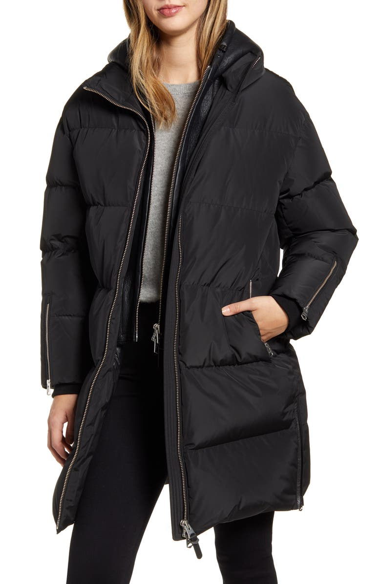 MACKAGE Raffy Water Repellent Down Coat with Leather Hood, Main, color, BLACK