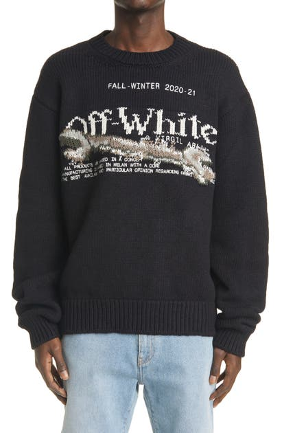 Off-White PASCAL TOOL INTARSIA WOOL BLEND SWEATER