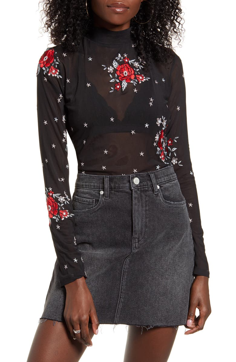 MINKPINK Empower Embroidered Mesh Long Sleeve Top, Main, color, MULTI