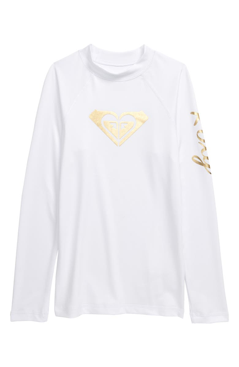 ROXY Whole Hearted Long Sleeve Rashguard, Main, color, WHITE