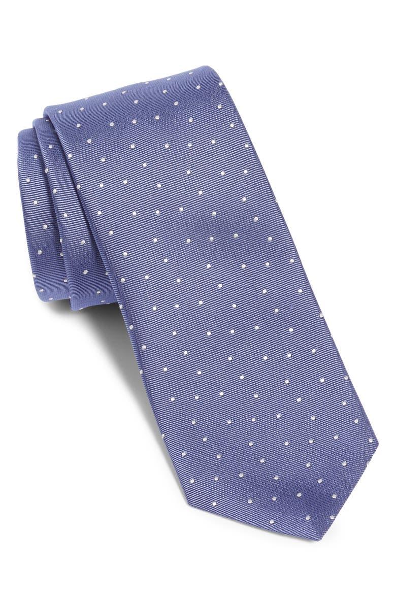 BOSS Dot Silk Tie, Main, color, LAVENDER