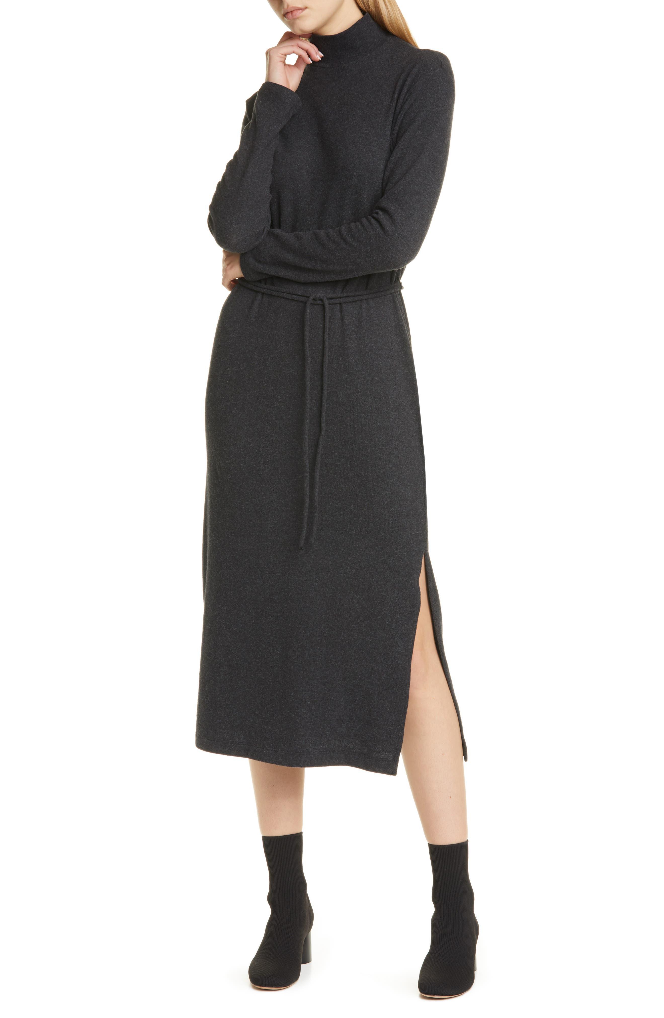 Vince Turtleneck Long Sleeve Cotton Blend Midi Dress