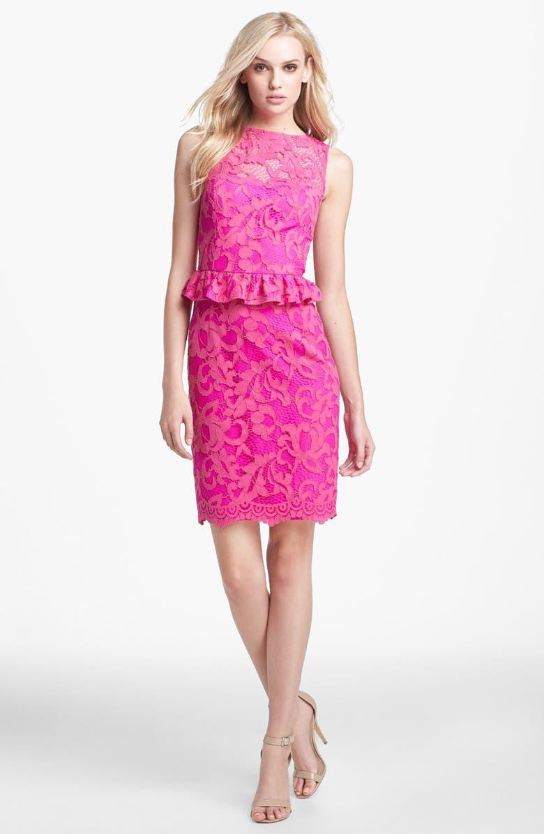 LILLY PULITZER<SUP>®</SUP> 'Kiri' Lace Peplum Dress, Main, color, MAMBO PINK