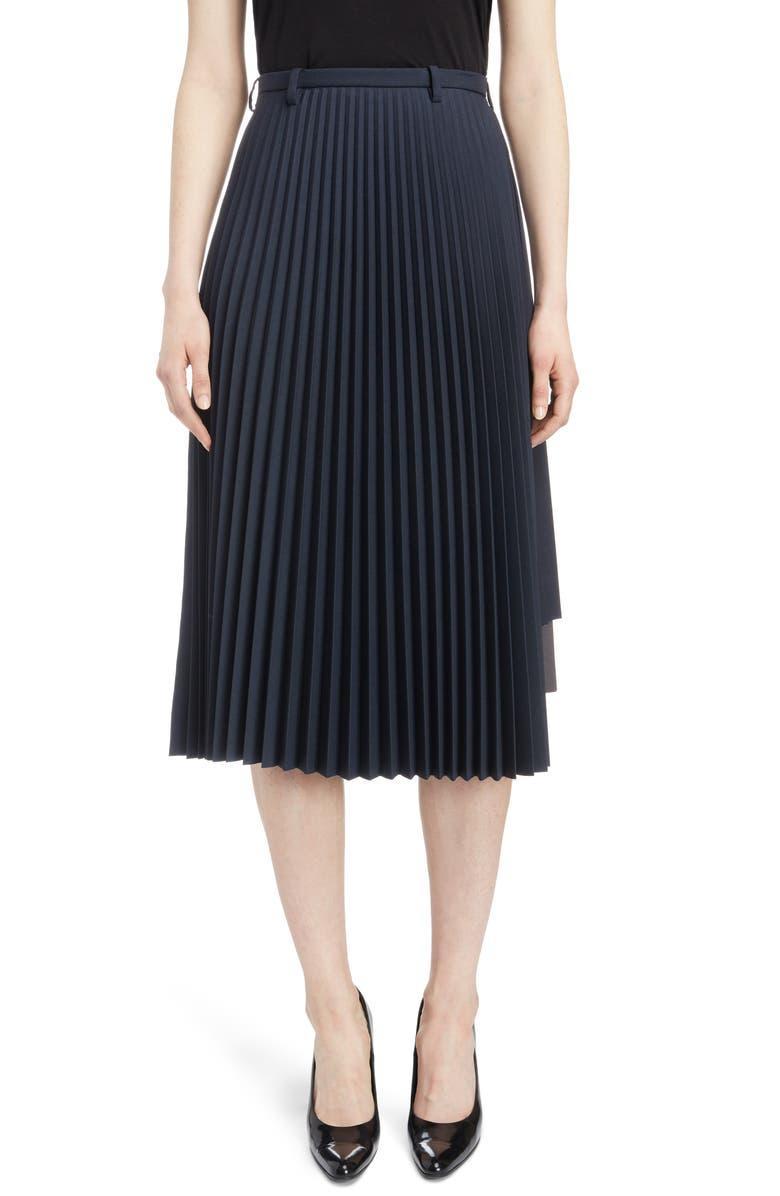 BALENCIAGA Layered Plissé Pleat Skirt, Main, color, 005