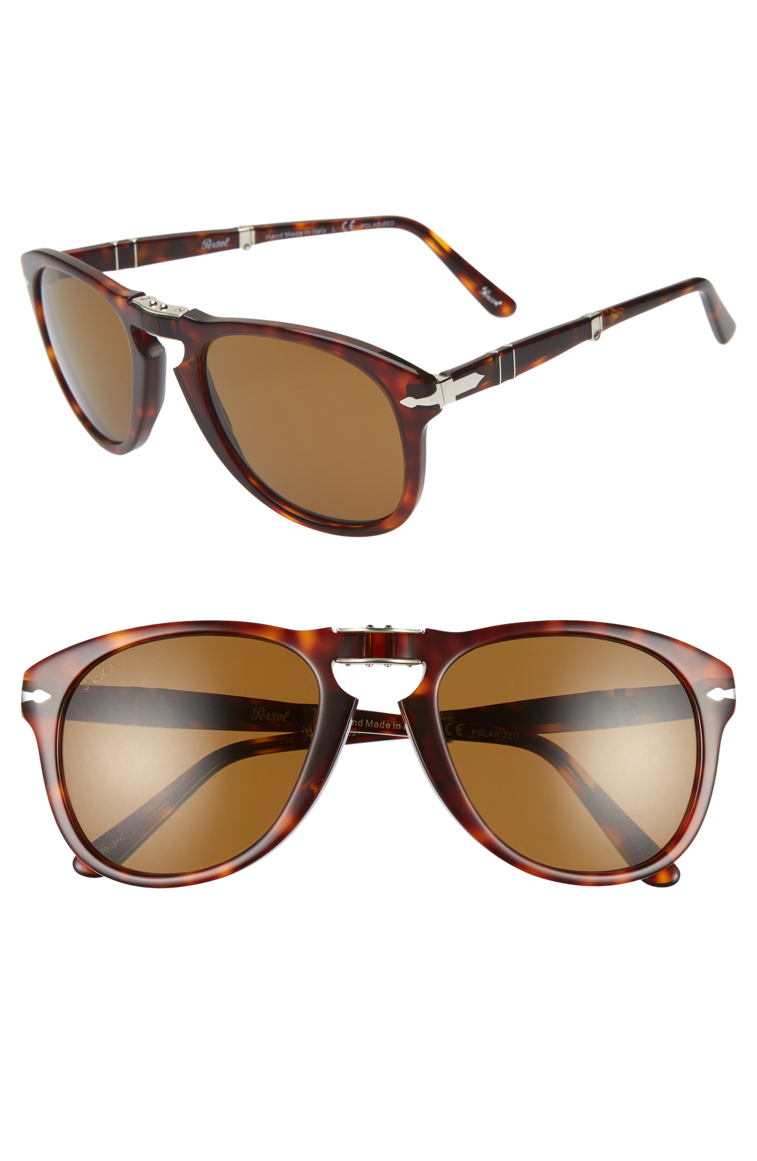 Folding Polarized Keyhole Sunglasses, Main, color, BROWN