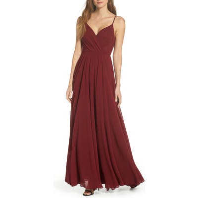 Lulus Surplice Chiffon Gown, Red