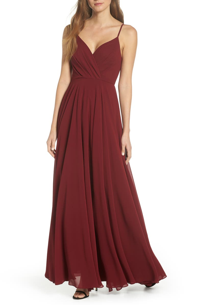 LULUS Surplice Chiffon Gown, Main, color, WINE