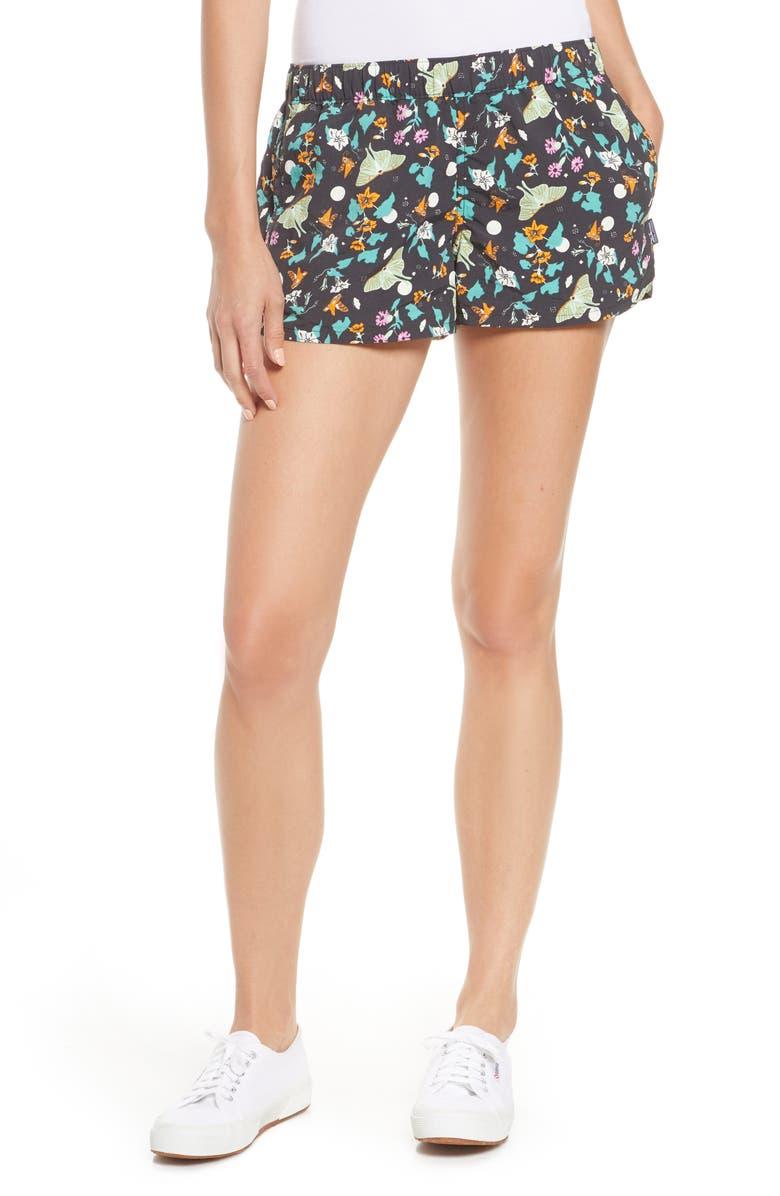 PATAGONIA Barely Baggies Shorts, Main, color, NIGHT POLLINATORS BLACK
