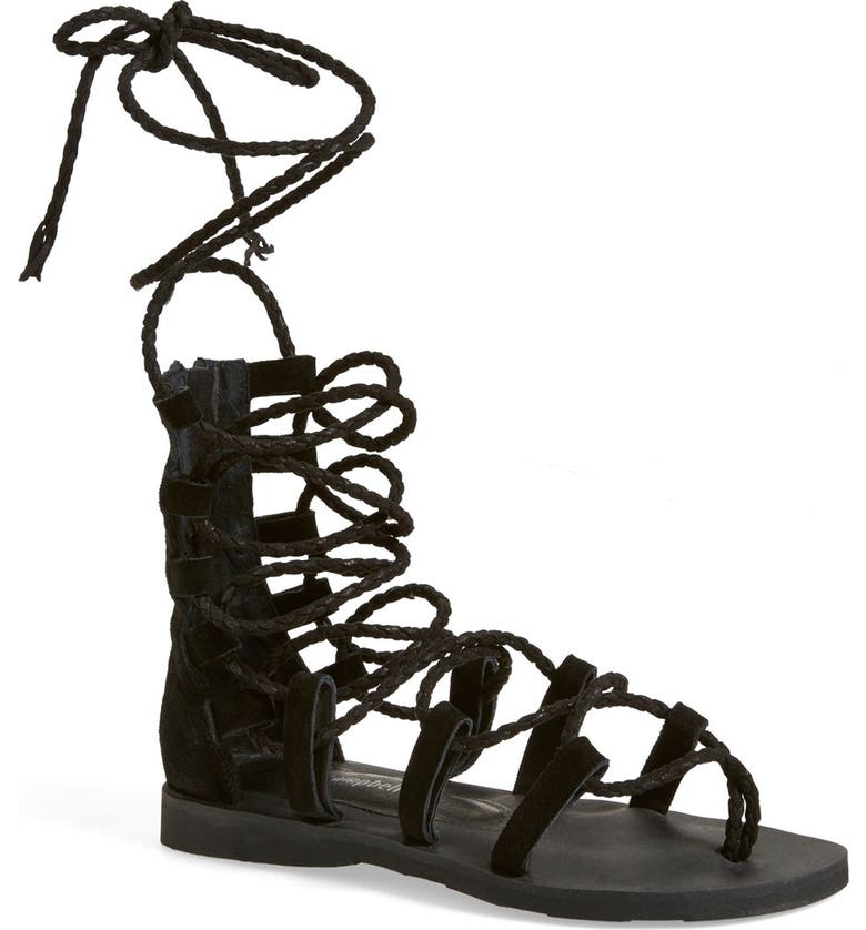 JEFFREY CAMPBELL 'Hola' Lace-Up Gladiator Sandal, Main, color, 001
