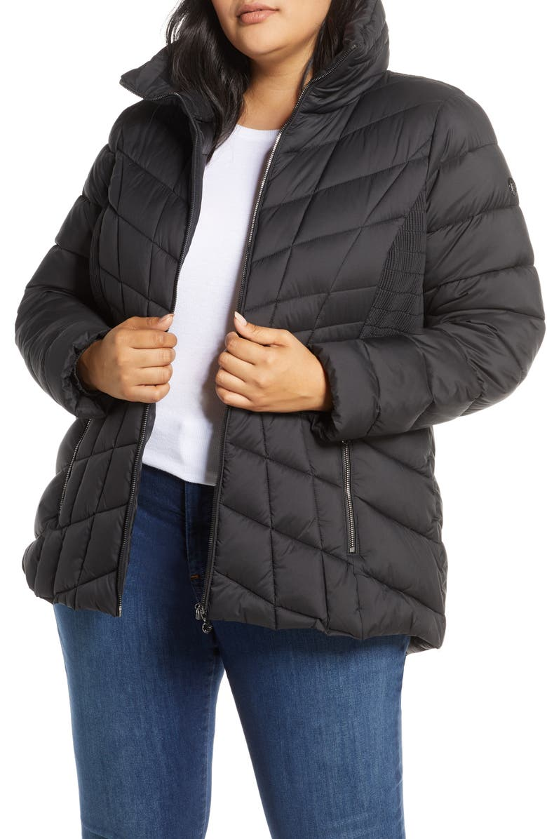 BERNARDO Packable Water Resistant Down & EcoPlume Coat, Main, color, 001