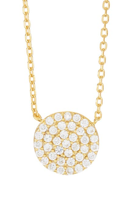 Image of Argento Vivo Gold Plated Sterling Silver CZ Detail Circle Pendant Necklace