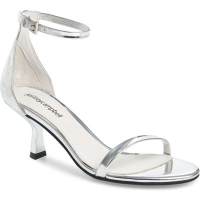 Jeffrey Campbell Entice Ankle Strap Sandal- Metallic