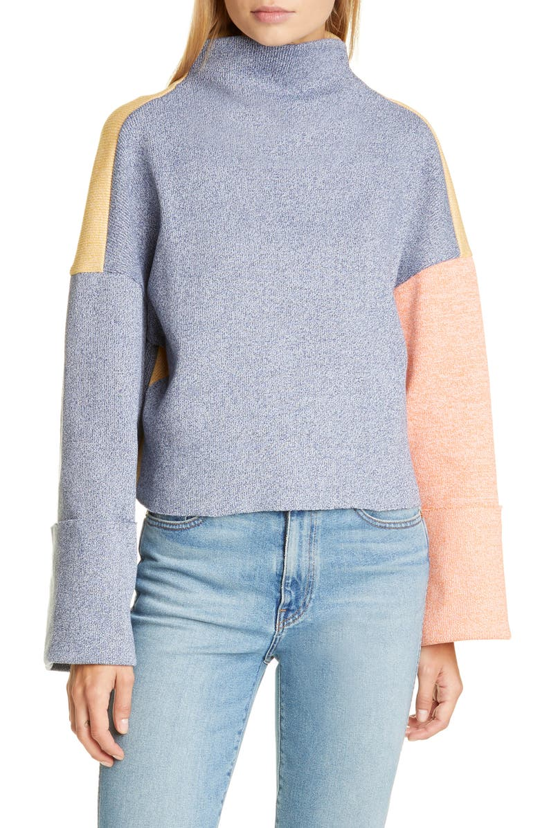 REJINA PYO Colorblock Ribbed Funnel Neck Top, Main, color, NAVY/ RED MIX