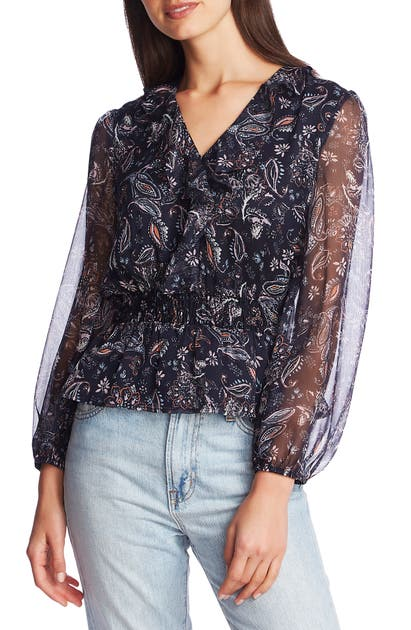 1.state Tops LYRICAL LONG SLEEVE PAISLEY RUFFLE V-NECK BLOUSE