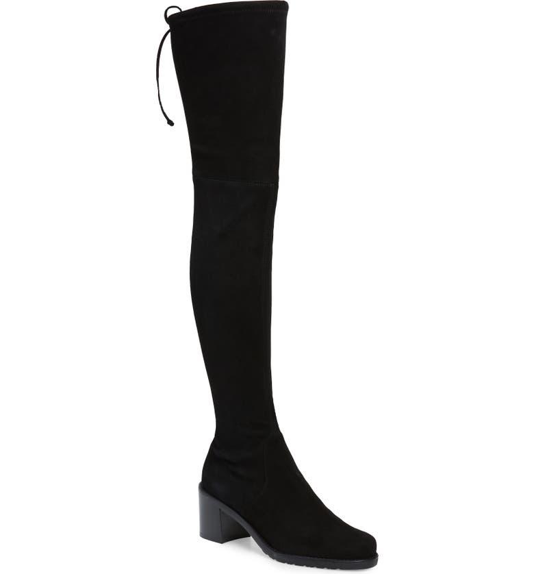 STUART WEITZMAN Darla Over the Knee Boot, Main, color, BLACK SUEDE