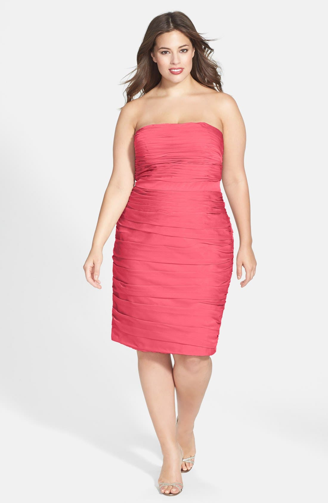 ,                             Ruched Strapless Cationic Chiffon Dress,                             Alternate thumbnail 76, color,                             805