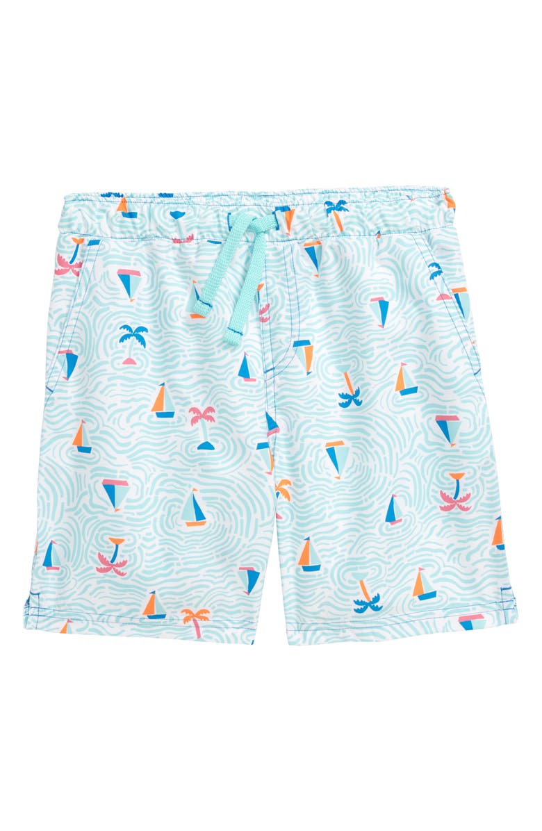 TUCKER + TATE Printed Tie Waist Swim Trunks, Main, color, WHITE- TEAL BOATS
