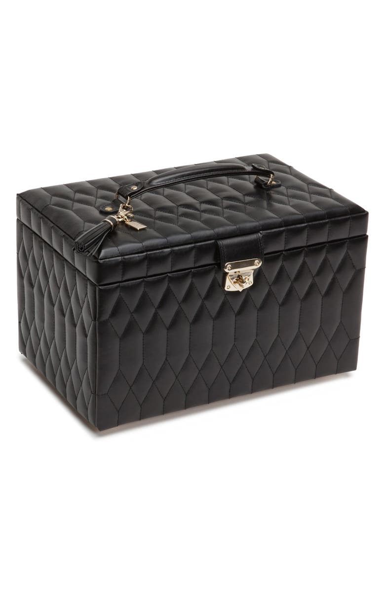 WOLF 'Caroline' Jewelry Case, Main, color, BLACK