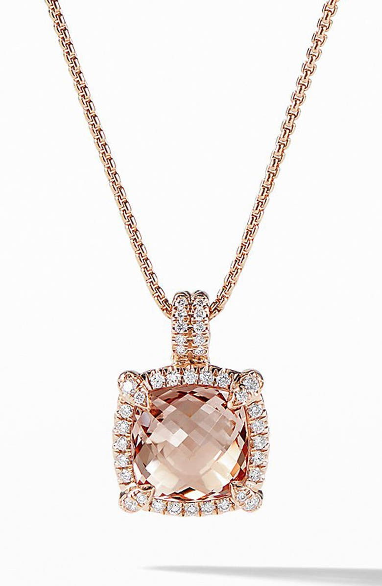 DAVID YURMAN Châtelaine Pavé Bezel Pendant Necklace with Morganite and Diamonds in 18K Rose Gold, Main, color, ROSE GOLD/ DIAMOND/ MORGANITE